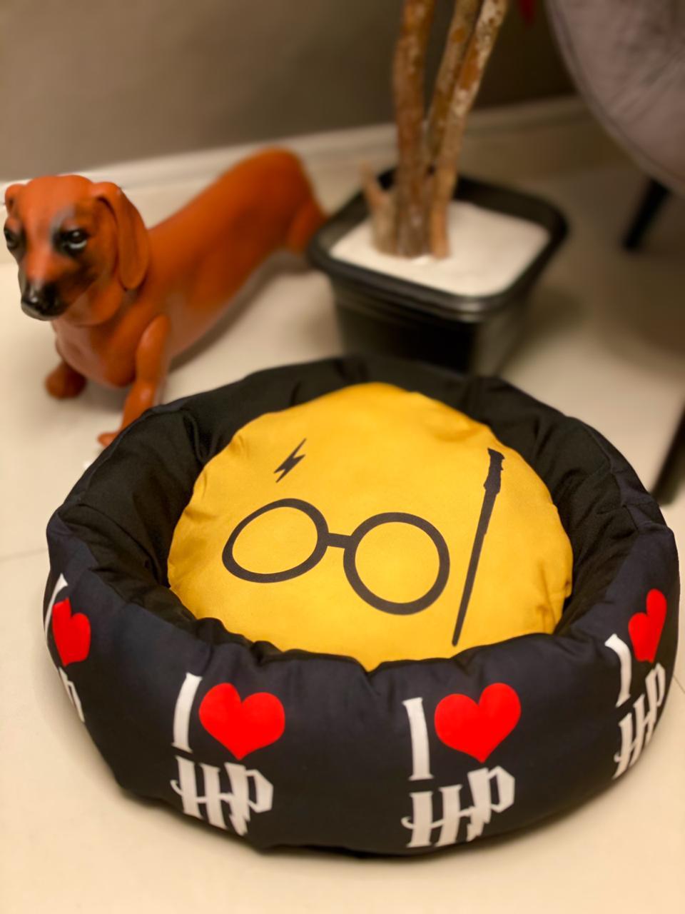 Cama Pet Cachorro e Gato I Love Harry Poter ( Preto )