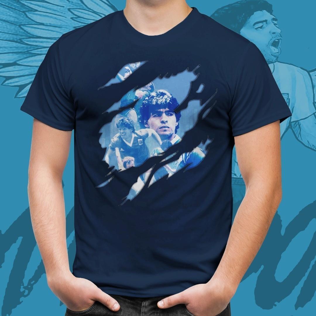 Camiseta Azul Marinho Unissex Maradona Copa Do Mundo