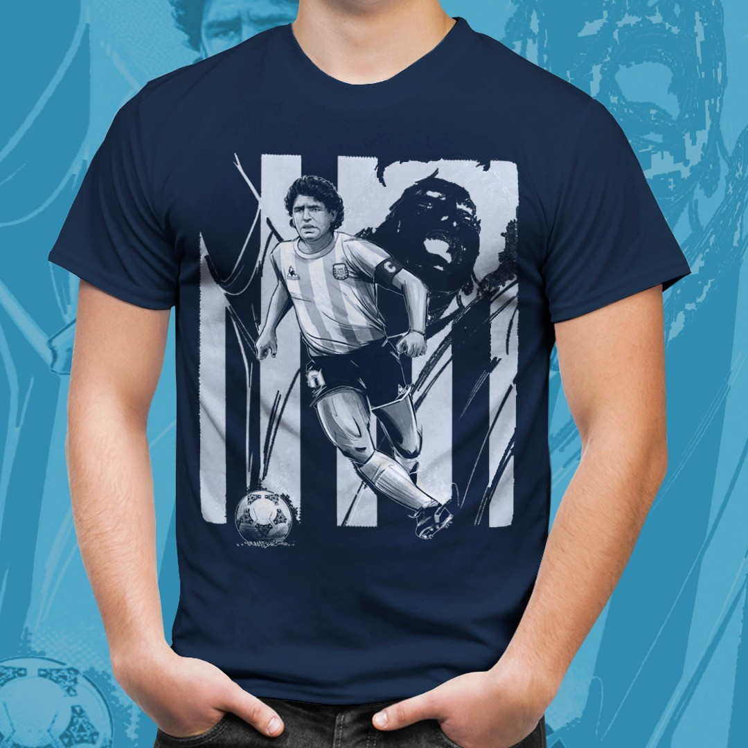 Camiseta Azul Marinho Unissex Maradona El Diego Tamanho: M