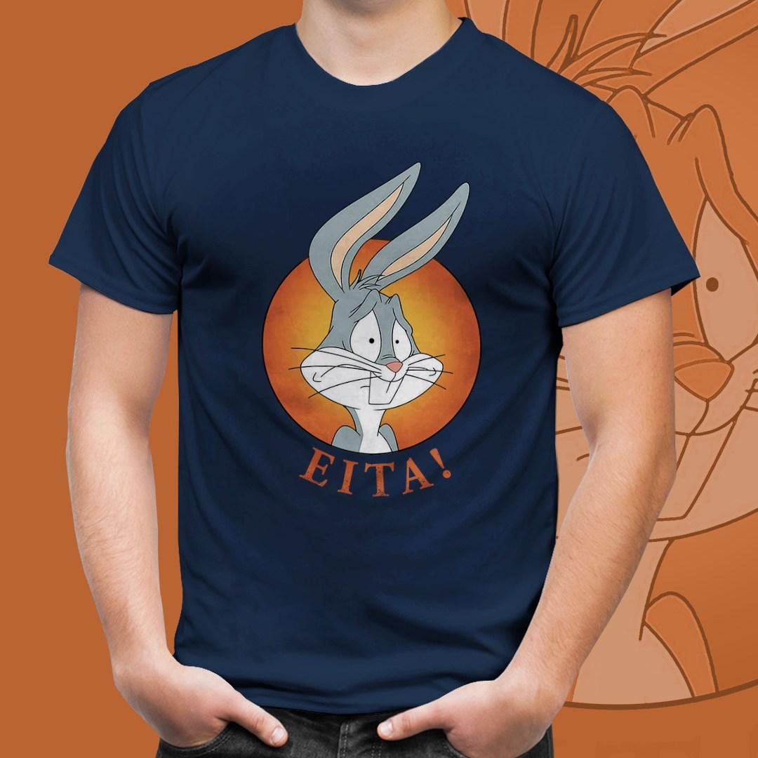 """Camiseta Azul Unissex Pernalonga """"Eita!''"""