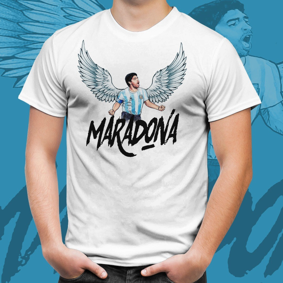 Camiseta Branca Unissex Maradona Com Asas