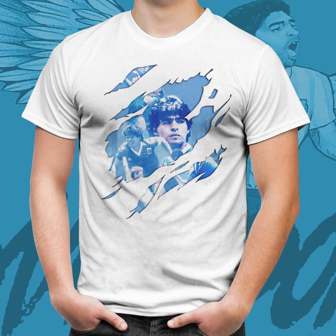 Camiseta Branca Unissex Maradona Copa Do Mundo