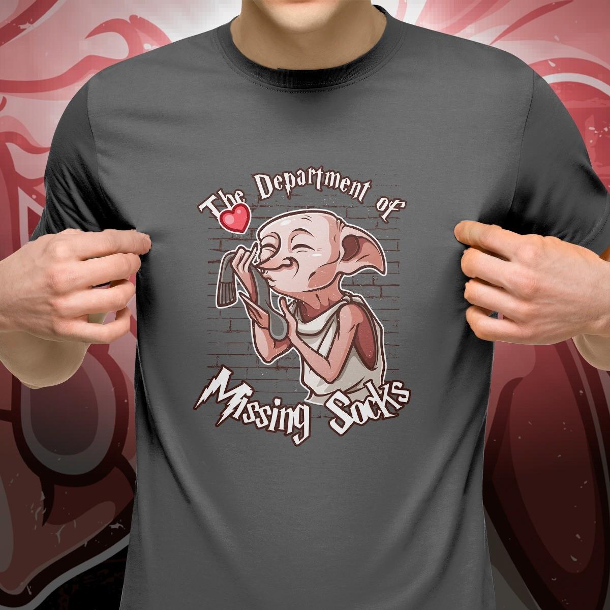"Camiseta Cinza Unissex Dobby ""The Department Of Missing Socks"""