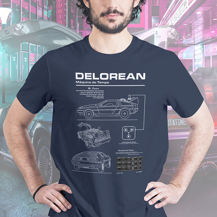 Camiseta DeLorean Time Machine: De Volta Para o Futuro (Back to the Future)