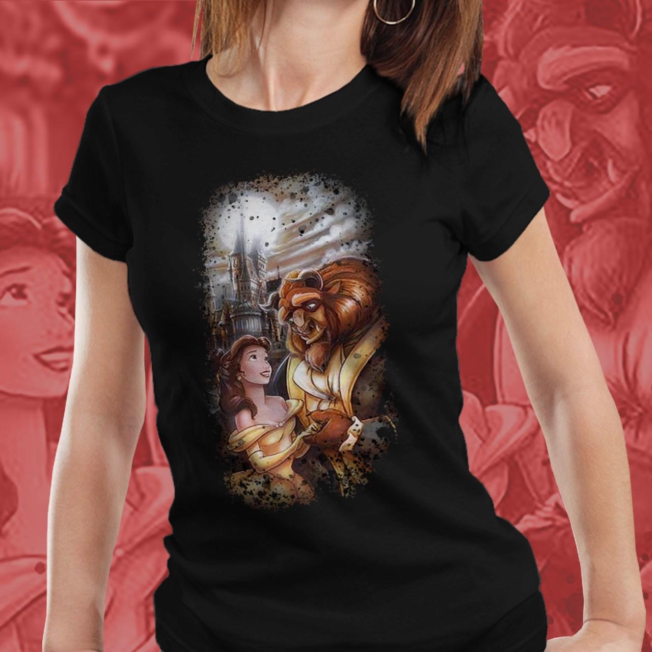 Camiseta Feminina A Bela e a Fera - Disney (Preto) - EV