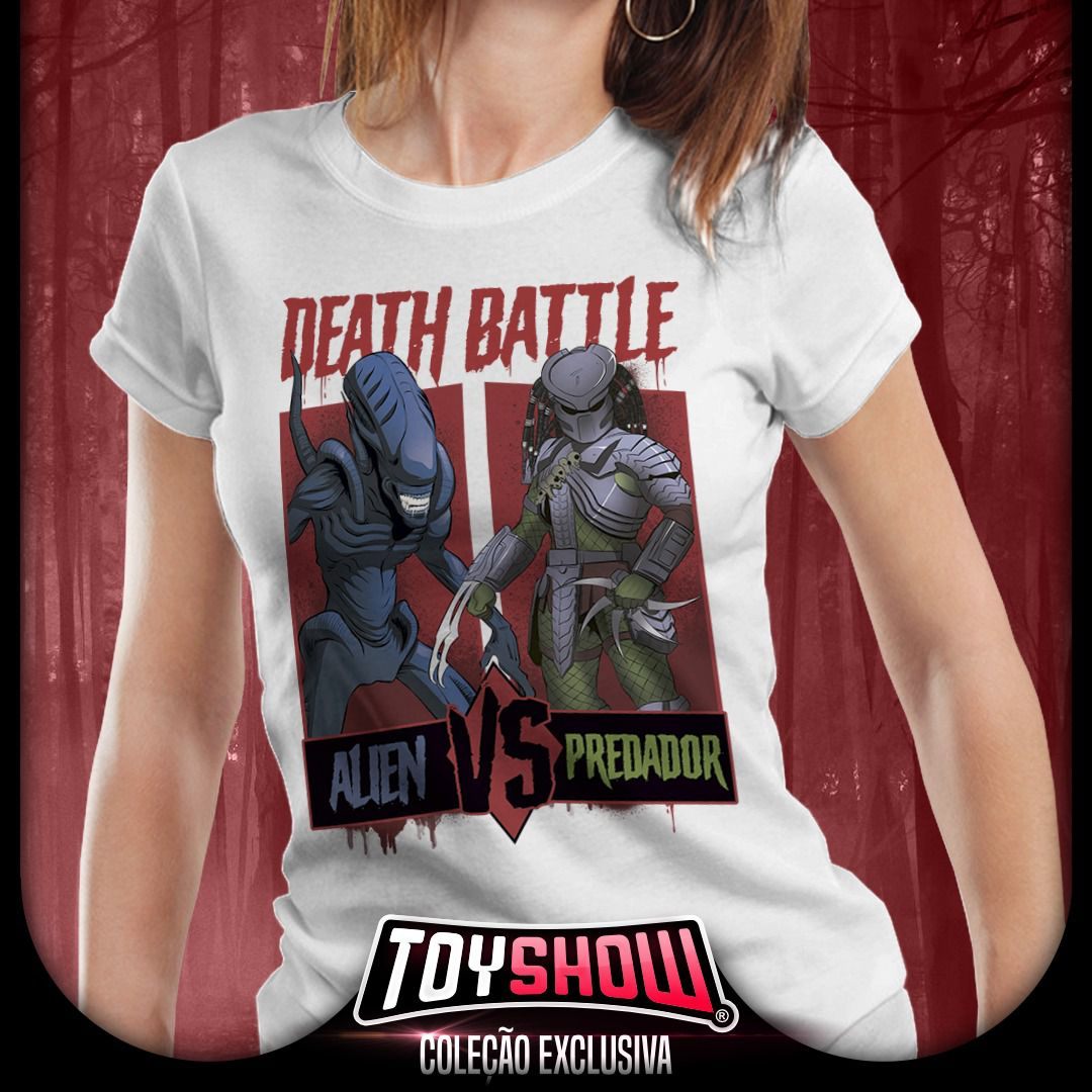 Camiseta Feminina Alien Vs Predador: Death Battle - Exclusiva Toyshow