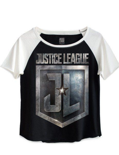 Camiseta Feminina Baby Look Justice League Shield: Liga da Justiça -  Raglan Preto Manga Off White