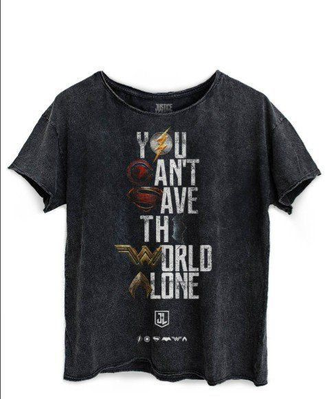 Camiseta Feminina  Baby Look You Can´t Save The World Alone: Liga da Justiça Ampla Preta Marmorizada