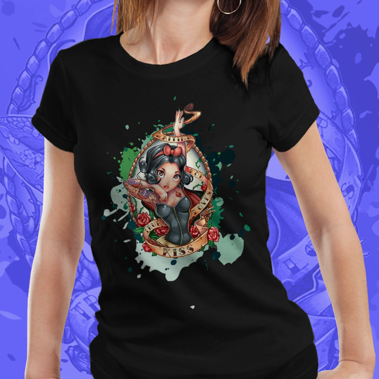 Camiseta Feminina Branca de Neve - Disney (Preto) - EV