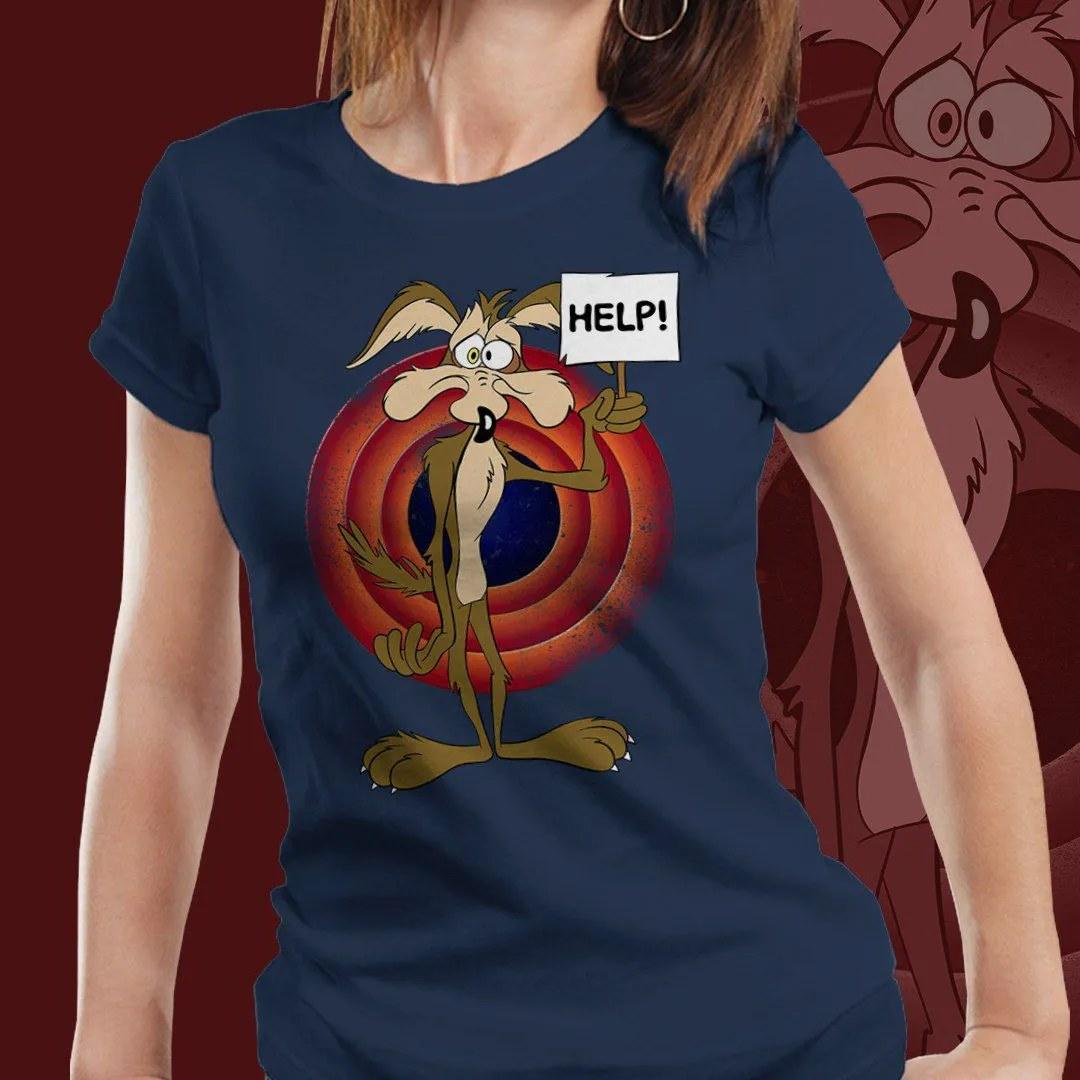 Camiseta Feminina Coiote Ajuda (Azul Marinho)