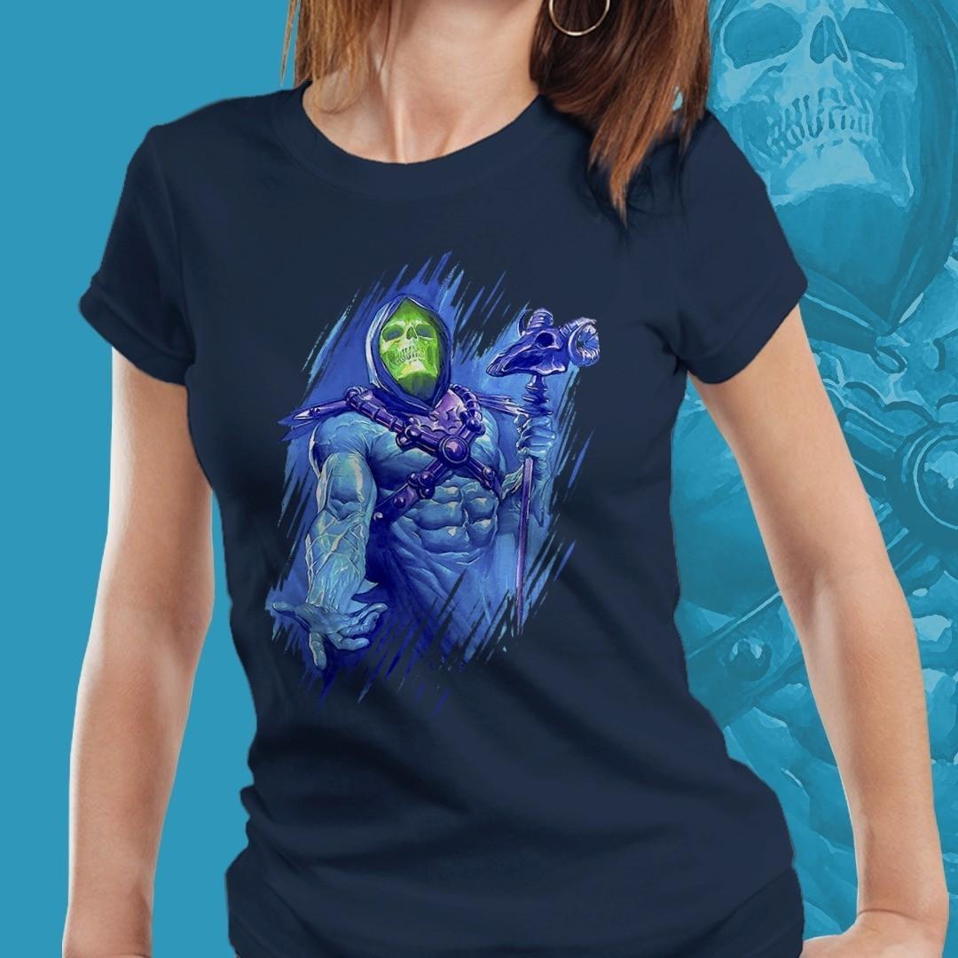 Camiseta Feminina Esqueleto: Mestres Do Universo (Masters of the Universe) (Azul)