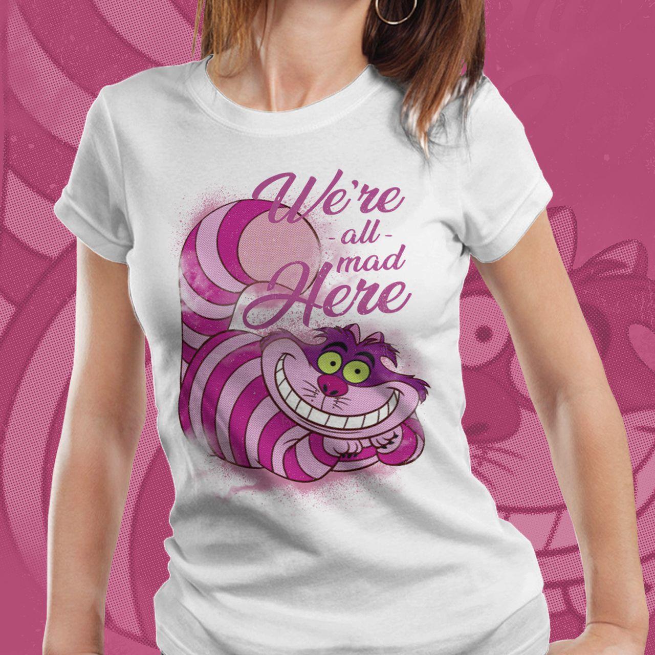 Camiseta Feminina Gato de Cheshire (Cheshire Cat): Alice no País das Maravilhas (Alice in Wonderland)