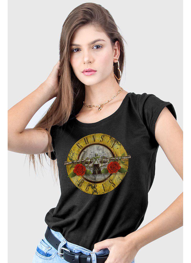 Camiseta Feminina Guns N' Roses Logo Bullet - BandUp!