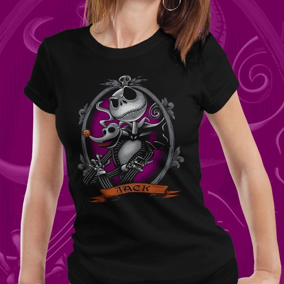 Camiseta Feminina Jack Skellinton e Zero (Preto)