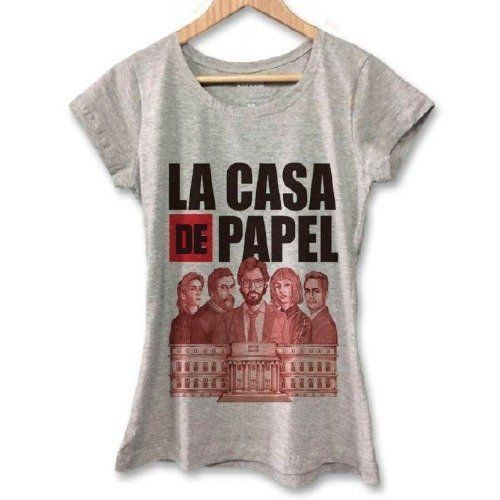 Camiseta Feminina La Casa de Papel (Cinza)