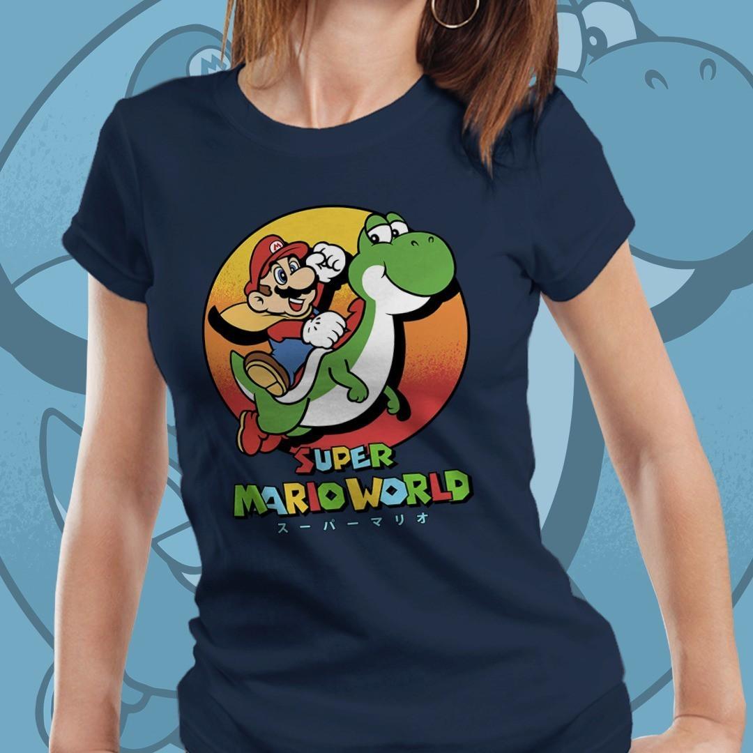Camiseta Feminina Mario E Yoshi: Super Mario Bros (Azul)