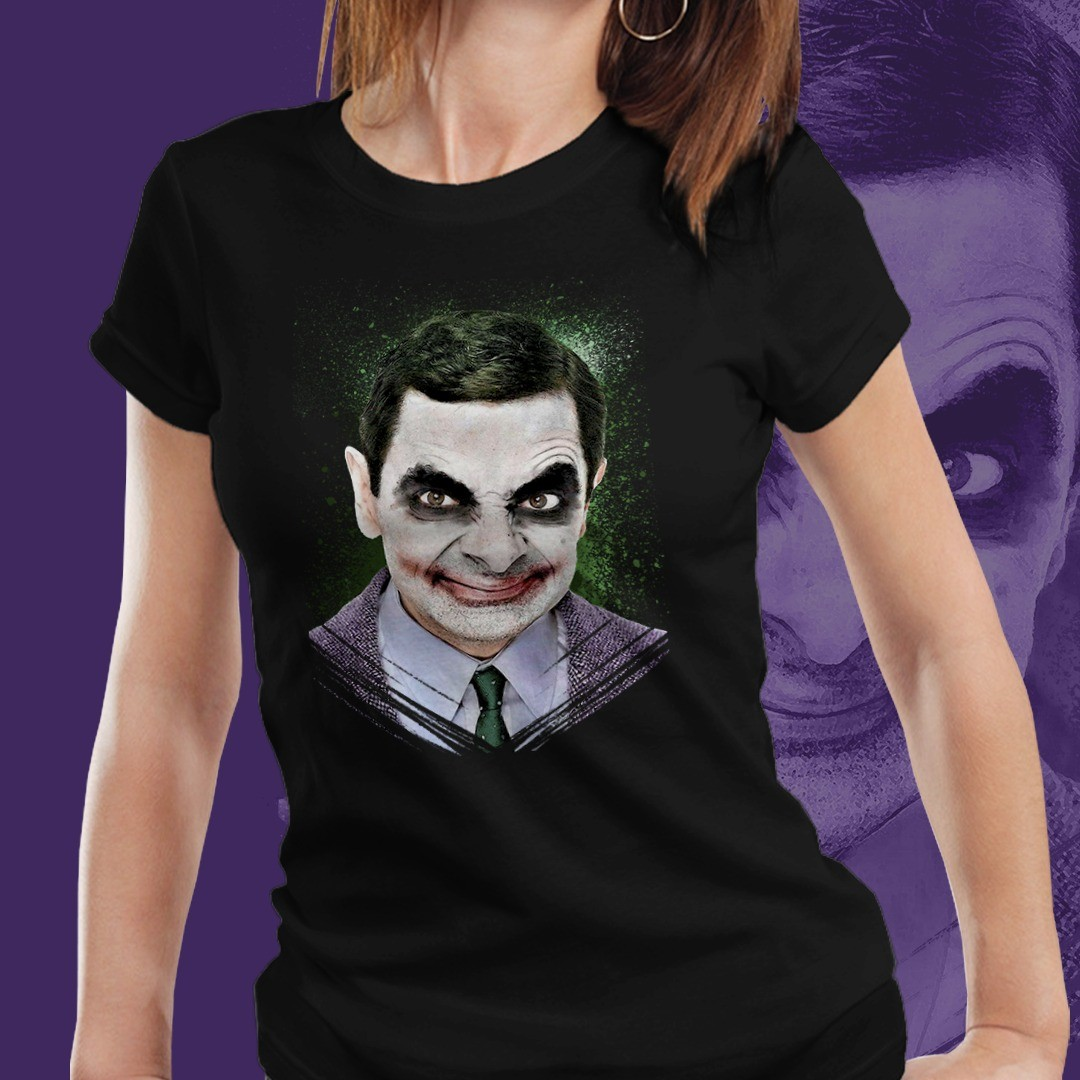 Camiseta Feminina Mr. Bean Coringa (Joker) (Preto)