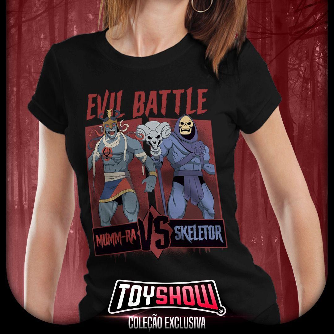 Camiseta Feminina Mumm-Ra Vs Skeletor: Evil Battle - Exclusiva Toyshow
