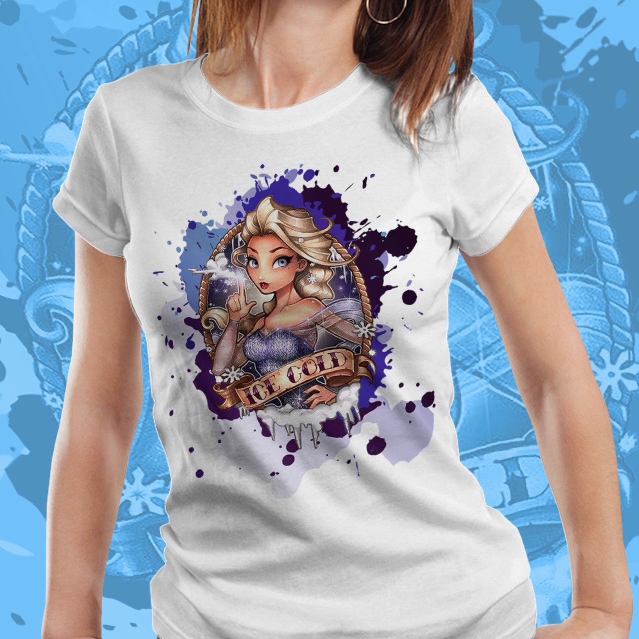 Camiseta Feminina Princesa Elsa: Frozen - Disney (Branco) - EV