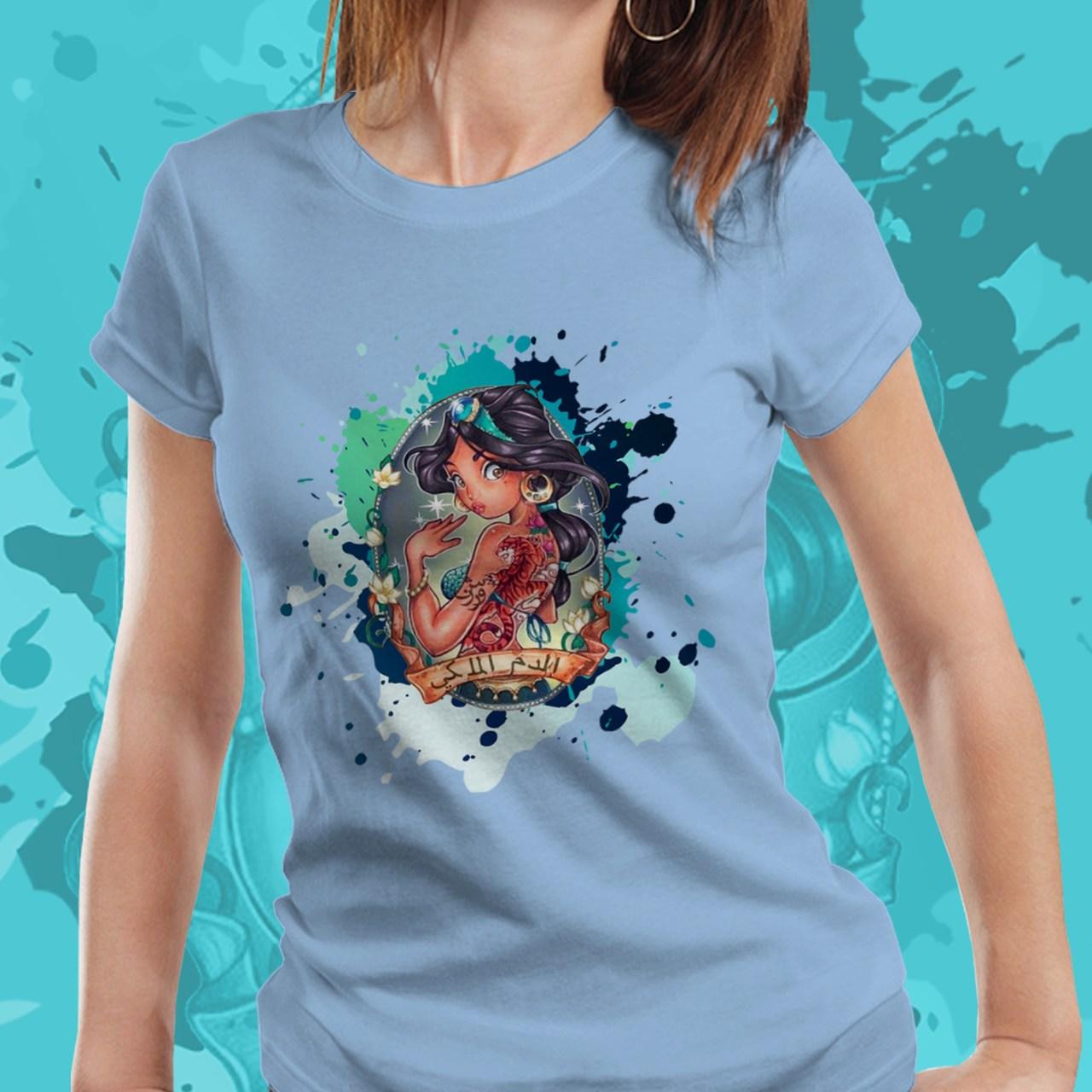 Camiseta Feminina Princesa Jasmin: Alladin - Disney (Azul) - EV