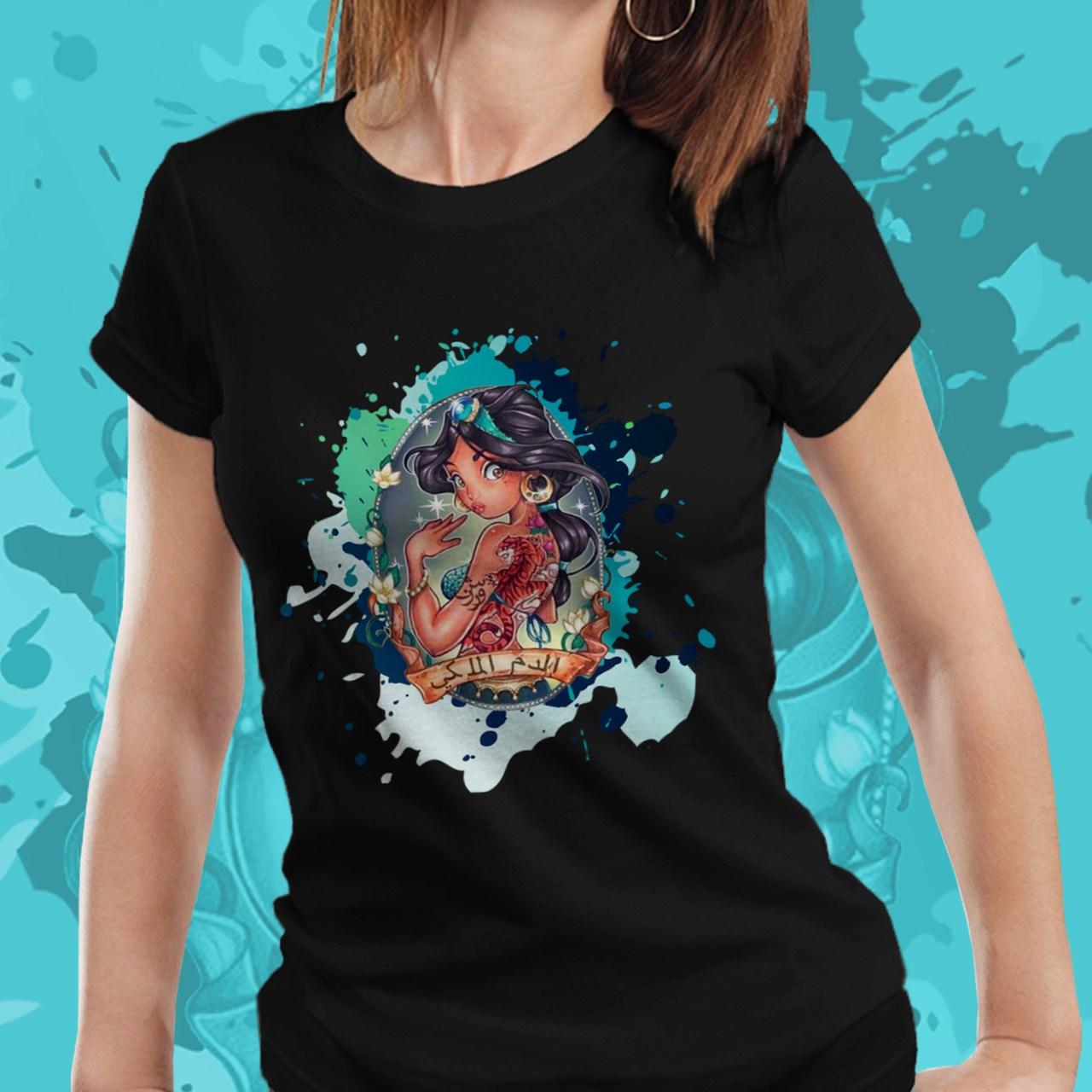 Camiseta Feminina Princesa Jasmin: Alladin - Disney (Preto) - EV