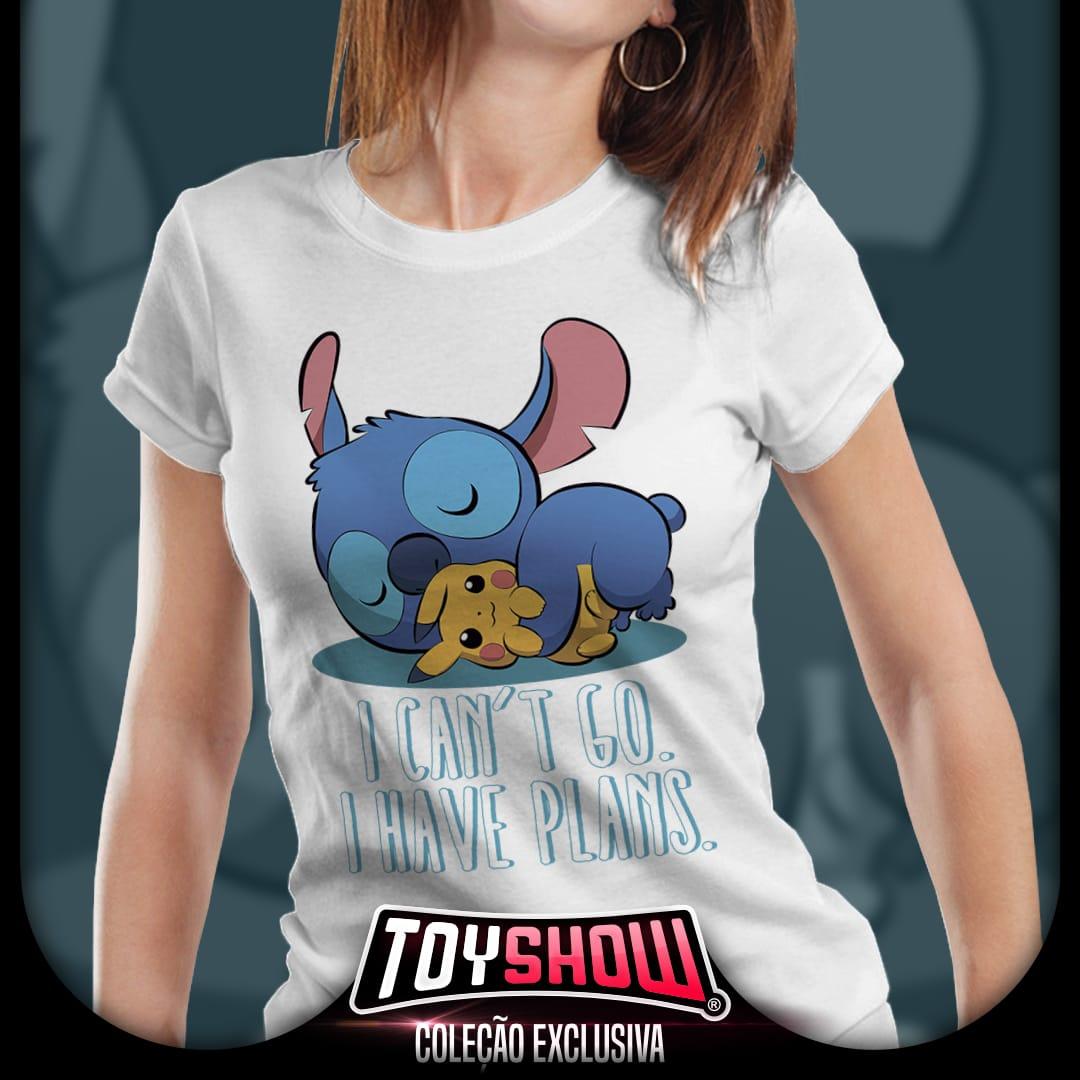 "Camiseta Feminina Stitch e Pikachu ""I can't Go"" - Exclusiva Toyshow"