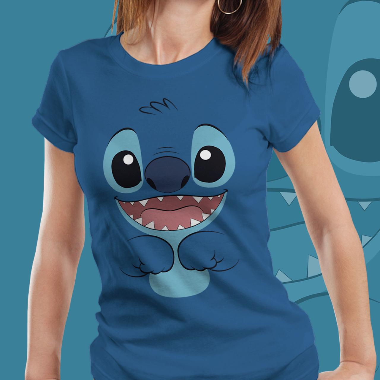 Camiseta Feminina Stitch: Lilo & Stitch