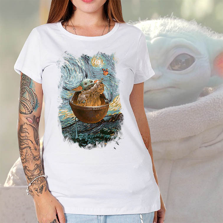 Camiseta Feminina Unissex Aesthetic Baby Yoda Butterfly: Star Wars (Branca) - EV