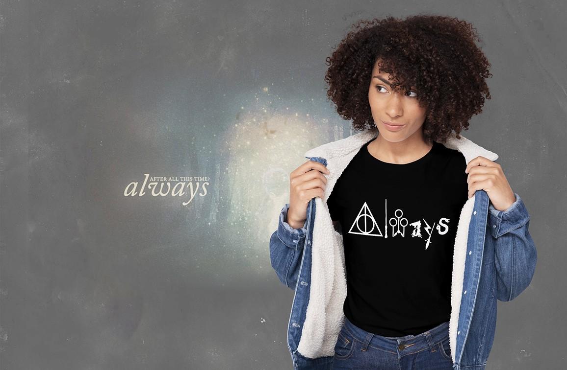 Camiseta Feminina Unissex Always: Harry Potter (Preta) - EV
