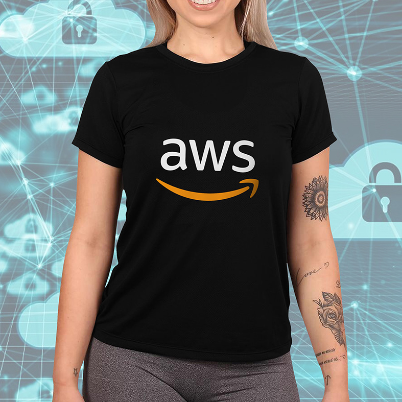 Camiseta Feminina Unissex Aws Amazon Web Services Computação Nuvem Armazenamento (Preta) - EV
