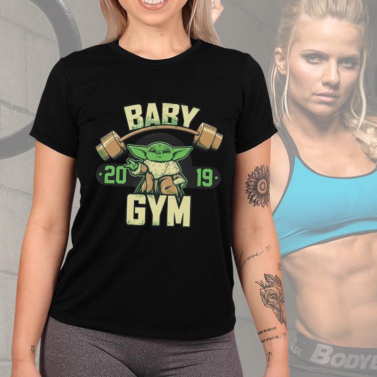Camiseta Feminina Unissex Baby Yoda GYM Fitness: Star Wars (Preta) - EV
