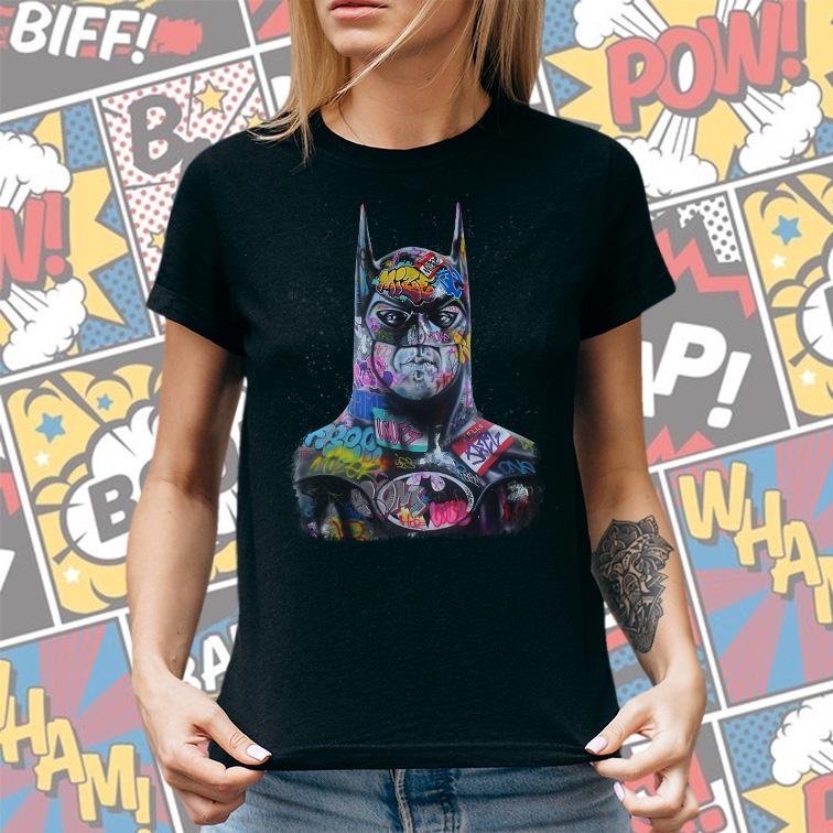Camiseta Feminina Unissex Batman Art Cartoon Pop Graffitti (Preta) - EV