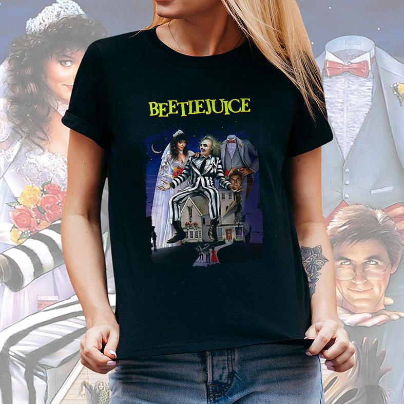 Camiseta Feminina Unissex Beetlejuice Os Fantasmas Se Divertem (Preta) - EV