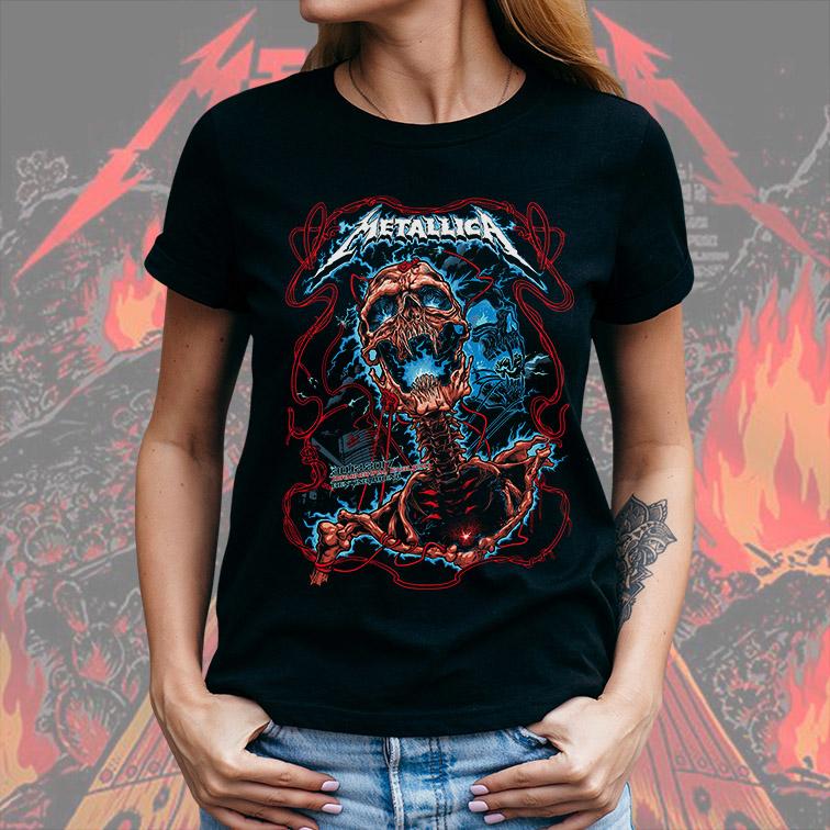 Camiseta Feminina Unissex Birmingham England Genting Arena: Metallica (Preta) - EV