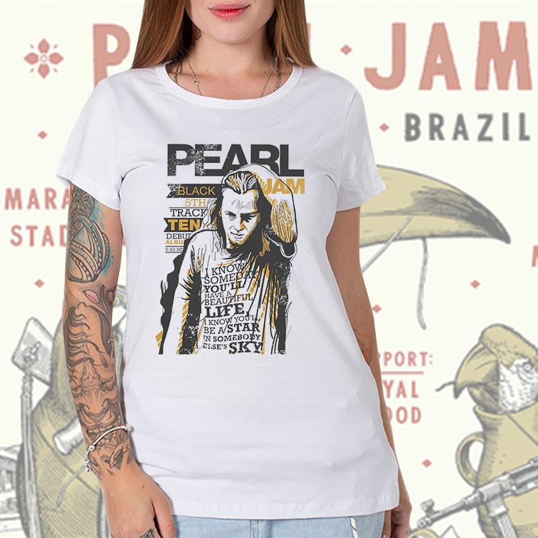 Camiseta Feminina Unissex Black Jam Pearl Jam (Branca) - EV