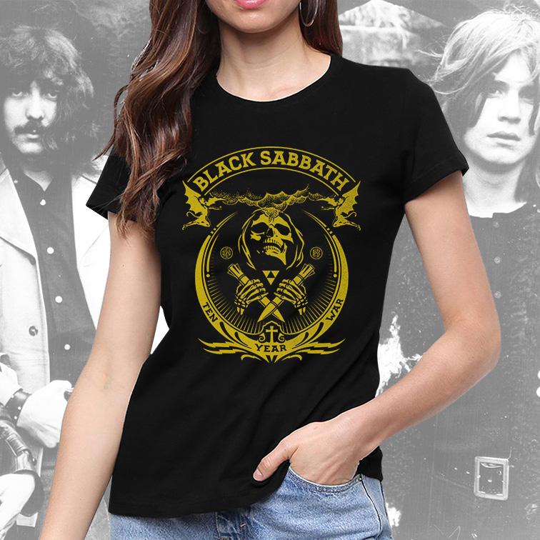 Camiseta Feminina Unissex Black Sabbath Ten Year War Heavy Metal (Preta) - EV