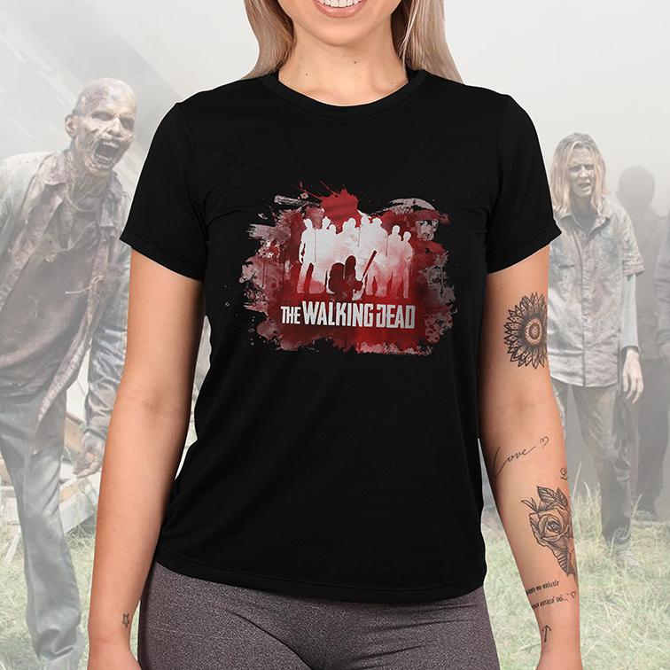 Camiseta Feminina Unissex Blood: The Walking Dead (Preta) - EV
