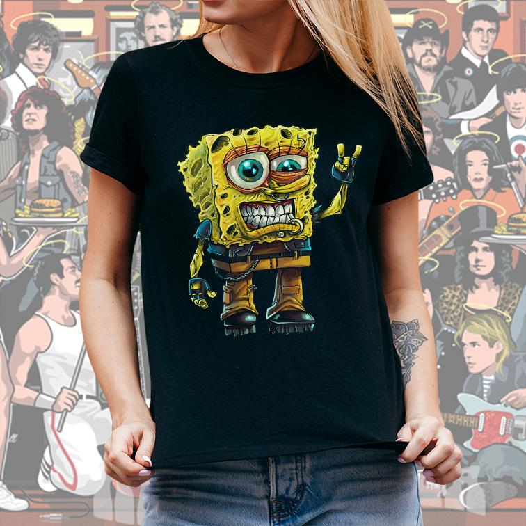 Camiseta Feminina Unissex Bob Esponja Rock And Roll (Preta) - EV
