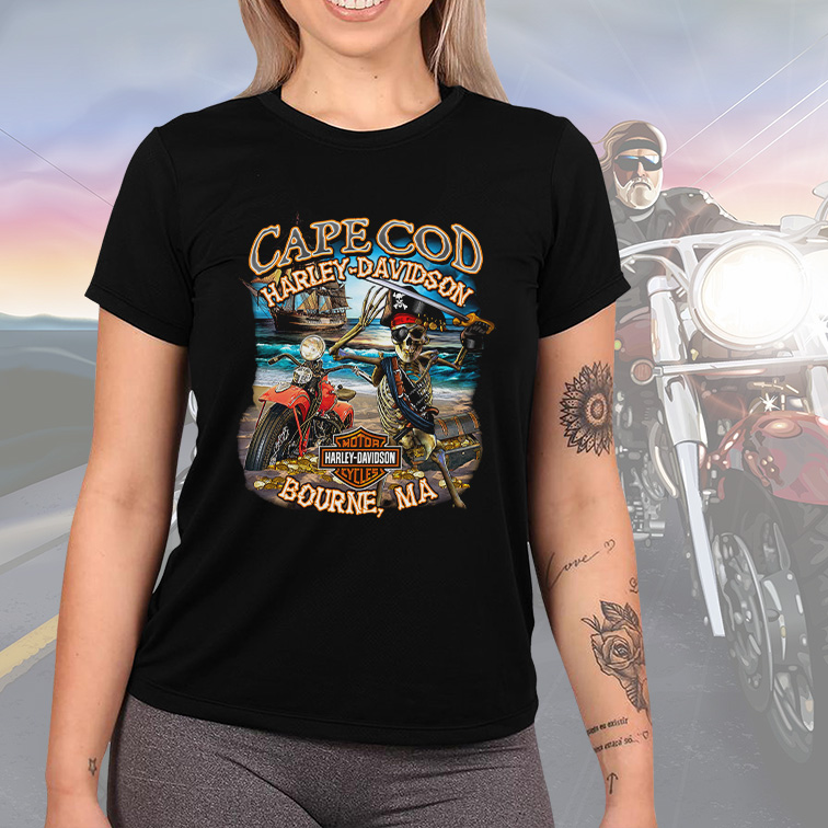 Camiseta Feminina Unissex Cape Cod Harley Davidson Cycles Motorcycle Bourne (Preta) - EV