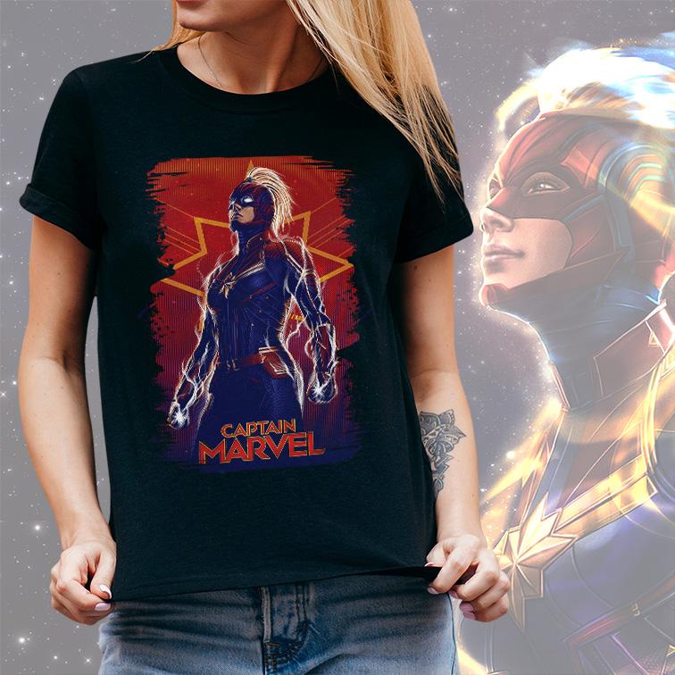 Camiseta Feminina Unissex Captain Marvel Capitã Marvel (Preta) - EV
