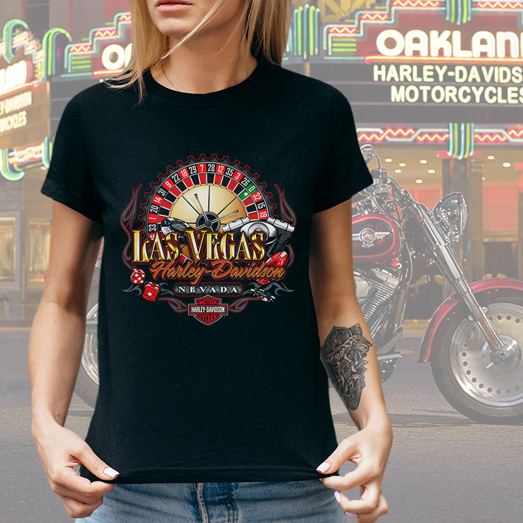 Camiseta Feminina Unissex Cassino Las Vegas Nevada: Harley Davidson Cycles (Preta) - EV