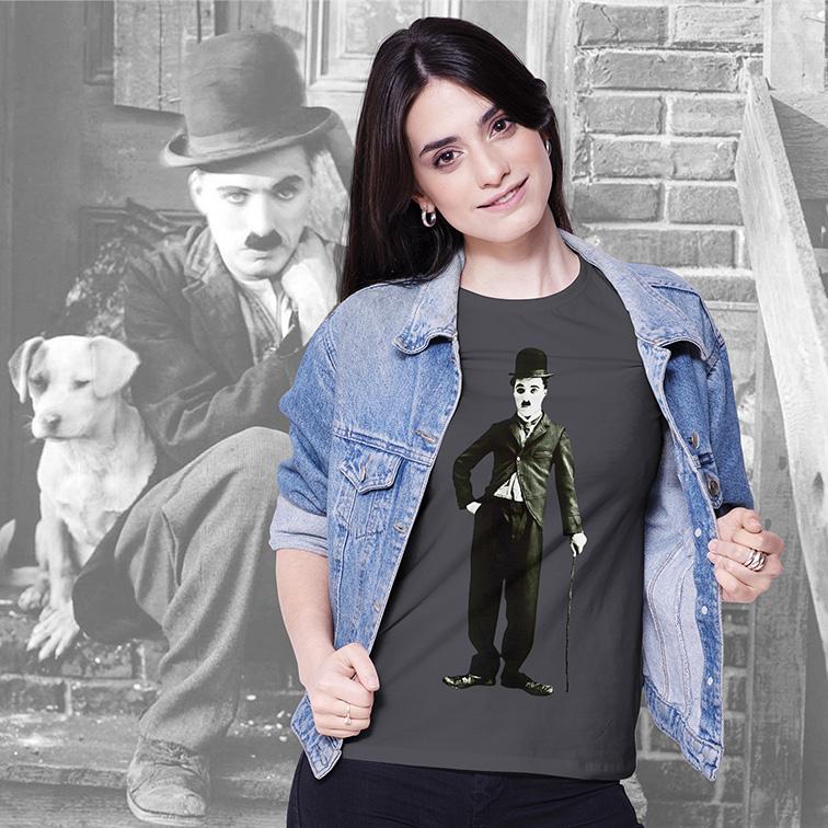 Camiseta Feminina Unissex Charlie Chaplin (Cinza) - EV