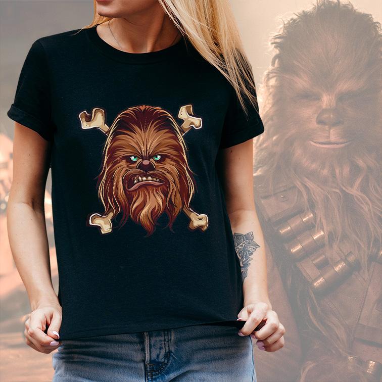 Camiseta Feminina Unissex Chewbacca Anakin Skywalker: Star Wars (Preta) - EV
