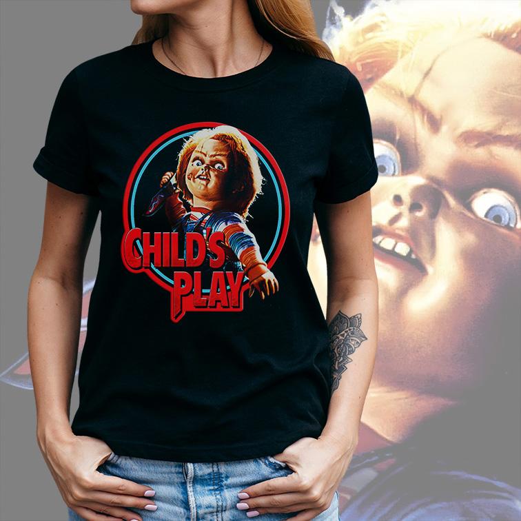 Camiseta Feminina Unissex Child's Play: Chucky Brinquedo Assassino (Preta) - EV