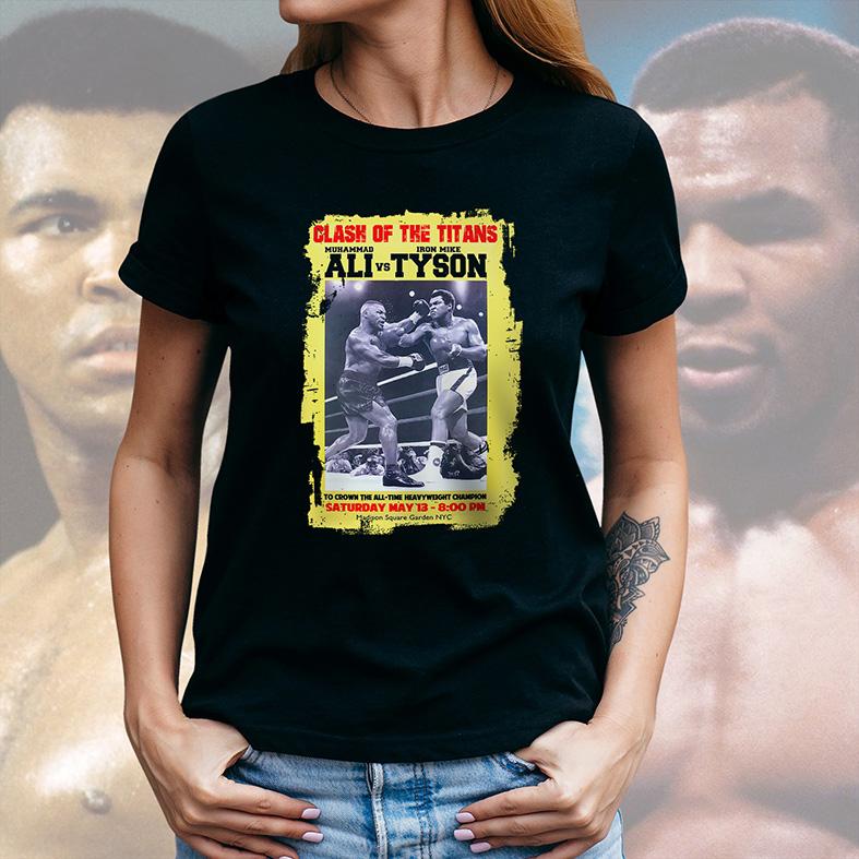 Camiseta Feminina Unissex Clash Of The Titans Muhammad Ali Vs Iron Mike Tyson Confronto Dos Titãs (Preta) - EV