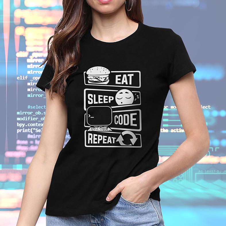 Camiseta Feminina Unissex Comer Dormir Código Repetir Eat Sleep Code Repeat Programação Dev (Preta) - EV