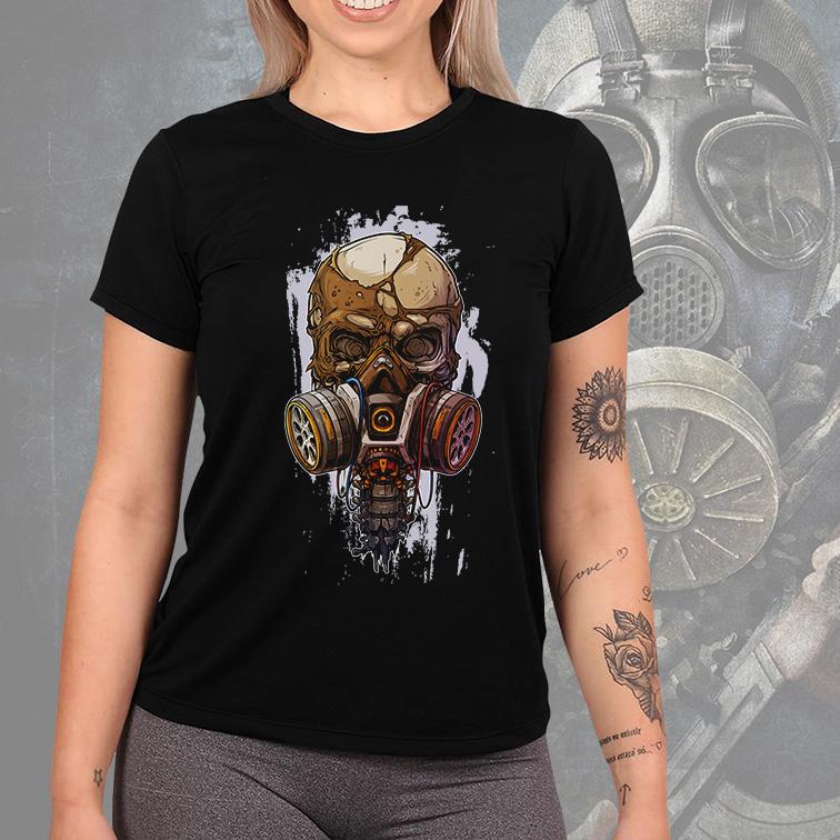 Camiseta Feminina Unissex Crânio Mascara de Gás Caveira Skull (Preta) - EV