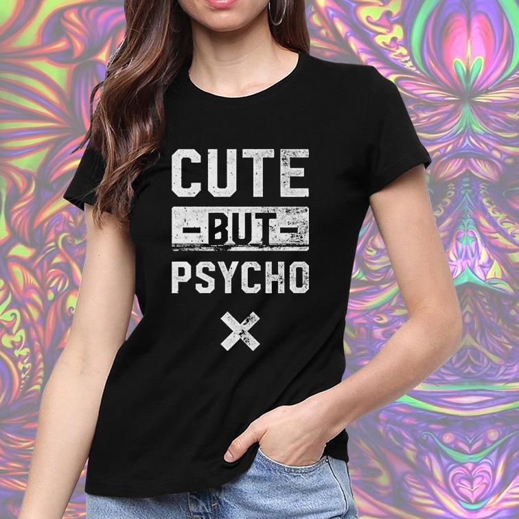 Camiseta Feminina Unissex Cute But Psycho (Preta) - EV