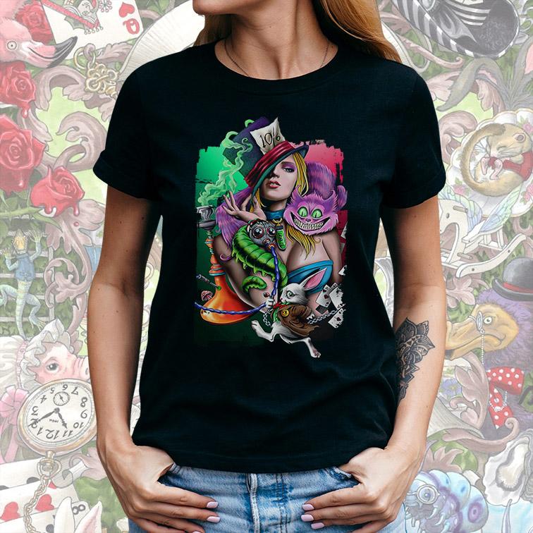Camiseta Feminina Unissex Dark Alice in Wonderland Alice No País Das Maravilhas (Preta) - EV