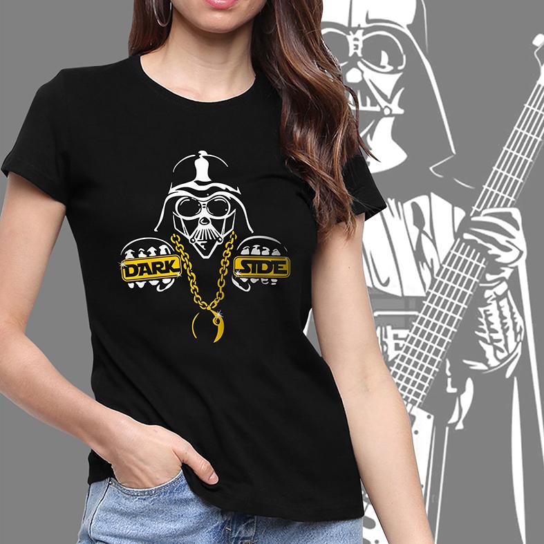 Camiseta Feminina Unissex Darth Vader Dark Side Thug Life: Star Wars (Preta) - EV